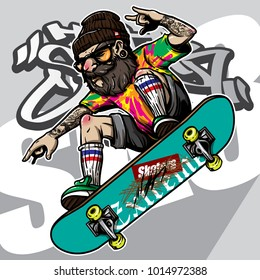 hand drawing style of hipster riding skateboard