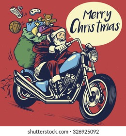 hand drawing style of Santa Claus riding a motorcycle to delivering Christmas gifts
