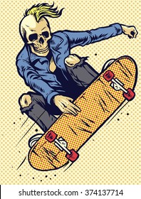 hand drawing style skull play skateboarding