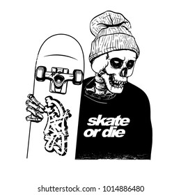 hand drawing style of skull pose with skateboard