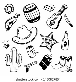 Hand drawing styles with cowboy items. Cowboy doodle.