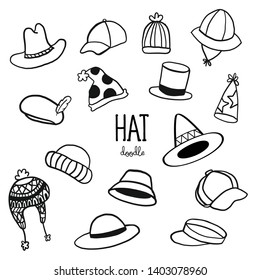 Hand drawing styles with hat doodle. Doodle for hats.