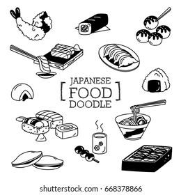 Hand drawing styles of Japanese food menu. Doodles of Japanese Menu.