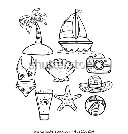 hand drawing summer icons boat camera stock vector royalty free Cacao Tree Drawing hand drawing summer icons with boat camera starfish shell and coconut tree