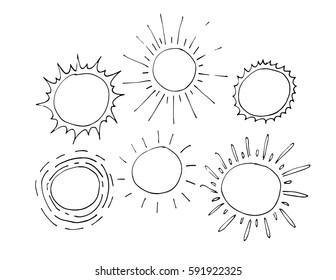 hand drawing sun in cartoon style