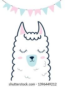 Hand drawing sweet llama vector illustration.