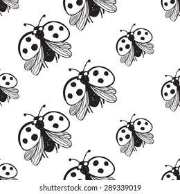 Hand drawing symbols of luck seamless pattern. Vector background with ladybird on white background. Chess grid order