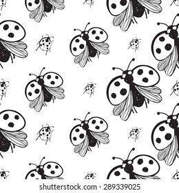 Hand drawing symbols of luck seamless pattern. Vector background with ladybird and ladybug on white background. Chess grid order