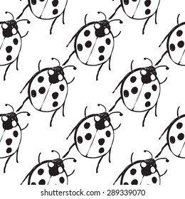 Hand drawing symbols of luck seamless pattern. Vector background with ladybug on white background. Chess grid order