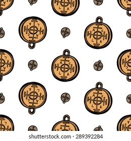 Hand drawing symbols of luck seamless pattern. Vector background with coin and fortune wheel on white background. Chess grid order