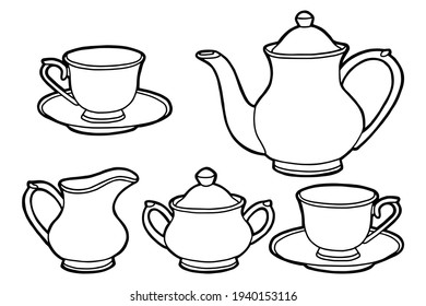 Hand drawing tea set. Teapot, milk jug, sugar bowl and cups and saucers. Black outline. Coloring page.