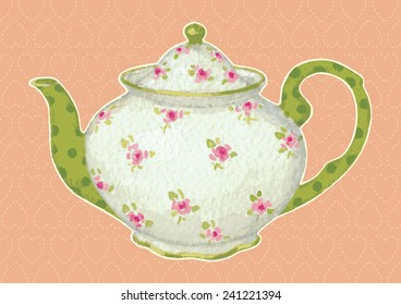 Hand drawing teapot rendering as vector illustration.