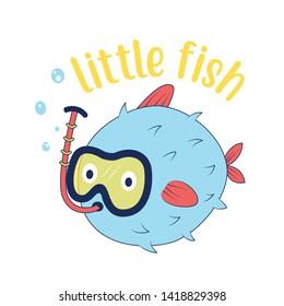 Hand drawing Tetraodontidae fish illustration vector.  Print design for summer.