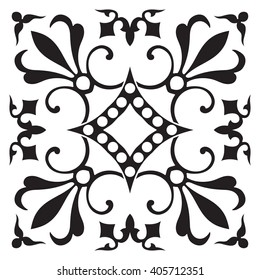 Hand drawing tile pattern in black and white colors. Italian majolica style.