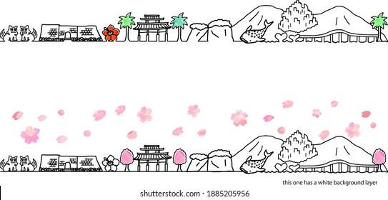 hand drawing town Okinawa Japan in Spring vector illustration set