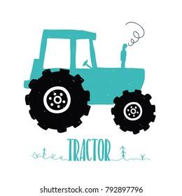 Hand drawing tractor print design. Vector illustration design for fashion fabrics, textile graphics, prints.