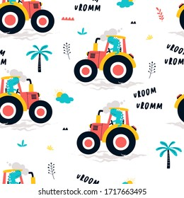 Hand drawing tractor and worker dinosaur print design seamless pattern. Vector illustration design for fashion fabrics, textile graphics, prints.