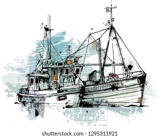 Hand drawing trawlers isolated on white. Reduced to one layer.