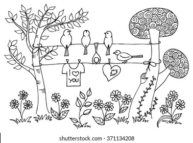 Hand drawing two trees and birds for coloring