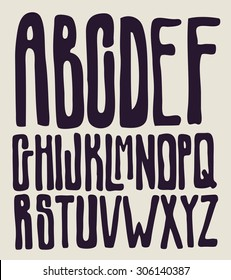 Hand drawing type font. typography vector