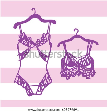 Royalty-free stock vector images ID  603979691. Hand drawing underwear  symbols. Bra and underwear lace body hand drawn sketch 5d2af1780