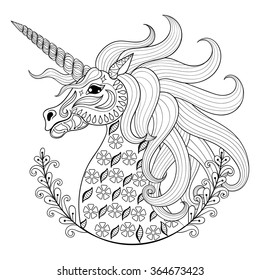 Hand drawing Unicorn for adult anti stress coloring pages, artistic fairy tale magic animal in zentangle tribal style, patterned illustartion, vector tattoo. Ornamental sketch.