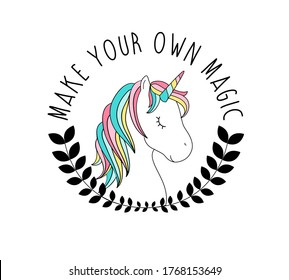 Hand drawing unicorn illustration vector with slogan. Vector illustration design for fashion fabrics, textile graphics, prints.