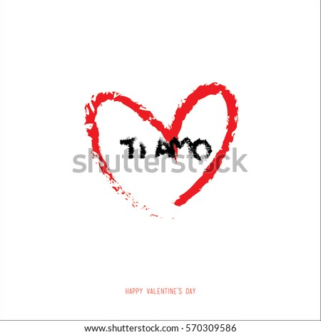 Hand drawing valentines day romantic greeting stock vector royalty hand drawing valentines day romantic greeting card i love you text in italian m4hsunfo