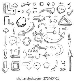 Hand drawing vector arrow collection isolated on lined paper