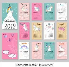 Hand drawing vector Calendar 2019. Magic cute unicorns. Week starts from Sunday.