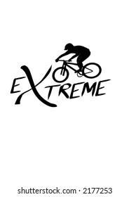 Hand drawing vector graphics. Caligraphic extreme Biker symbol.