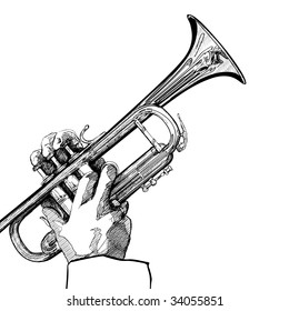 hand drawing vector illustration of a trumpet on white background