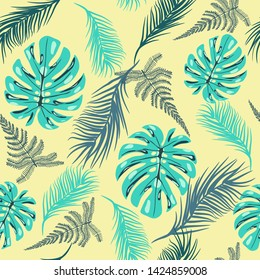 Hand drawing Vector pattern of tropical foliage In vintage style. Jungel leaves background for summer theme invitations, cards, fabric, textile.