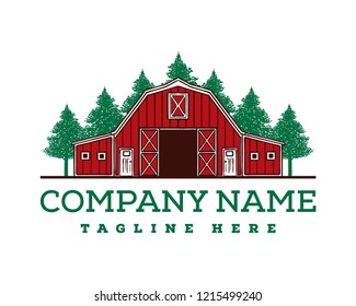 Hand Drawing Vector Red Barn on the Farm Fields with Pine Tree Forest Sign Symbol Icon Logo Template Design Inspiration