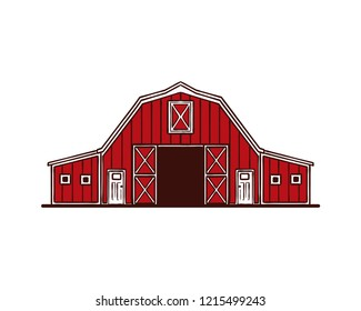 Hand Drawing Vector Red Barn on the Farm Fields Sign Symbol Icon Logo Template Design Inspiration