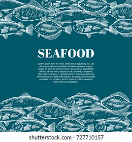 Hand drawing vector seafood illustrations for restaurant menus
