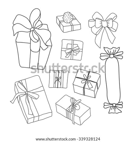 Hand Drawing Vector Set Gifts Vector Stock Vector Royalty Free