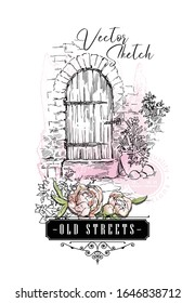 Hand drawing vector sketch of old street view. Shabby chic sharming drawings. Scrapbooking kit. European archtecture elements. Windows, doors, old stone walls. Rural landscape. Small town houses. Ink