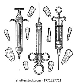 Hand drawing vector Vintage Syringe Lineart Pen Illustrations with teeth. Use for banner, poster, print, cards, flyers, dentistry, surgery