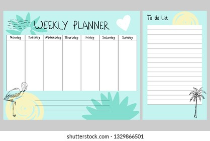 Hand drawing vector weekly planner with summer elements.