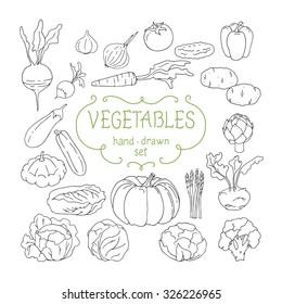 Hand drawing vegetables set. Vector illustration.