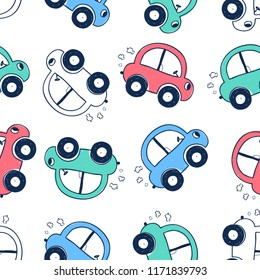 Hand drawing vehicles print design seamless pattern. Vector illustration design for fashion fabrics, textile graphics, prints.