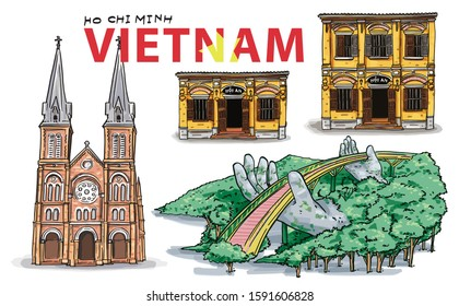 Hand Drawing. Vietnam Landmarks set, The Golden Bridge is lifted by two giant hands, Hoi an Ancient town houses, Saigon Notre-Dame Cathedral Basilica