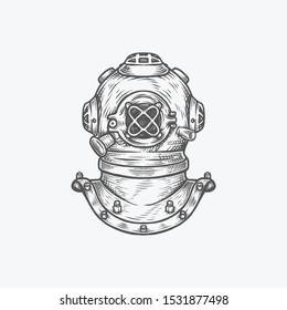 Hand drawing vintage diver helmet vector illustration