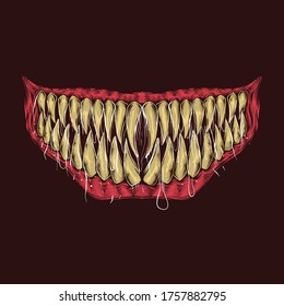 Hand drawing vintage monster teeth vector illustration