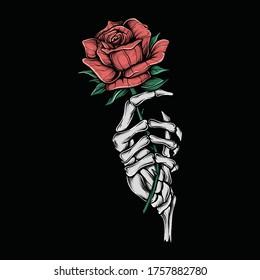Hand drawing vintage skeleton holding flower vector illustration