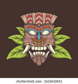 Hand drawing vintage tiki mask vector illustration