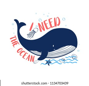 Hand drawing whale illustration vector.