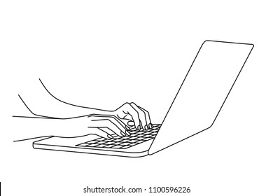 Hand drawing of woman hands typing in a laptop