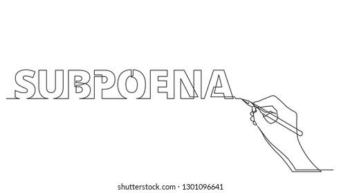 hand drawing word of subpoena